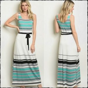 NEW!💙Gray & Teal Striped Tank Maxi Dress